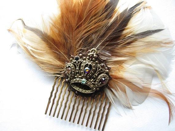 Large hair comb | rhinestone crown | fascinator | headpiece