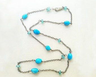 Turquoise & Apatite oxidized Sterling Silver Necklace