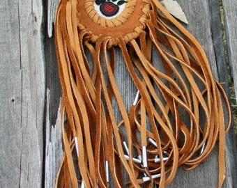 Old style fringed medicine bag with bear totem , Beaded amulet bag , leather necklace bag