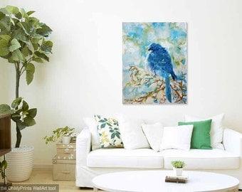 Winter Scrub Jay WaterColour CANVAS Art Really BIG Wall ART 30x40, 24x30, 18x24