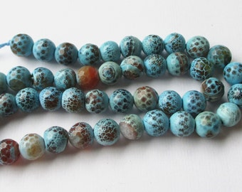 """Agate Beads - Blue Brown Faceted Beads - Round Agate Beads - 8mm - 13"""" Strand - Turquoise Natural Gemstone - Jewelry Making"""