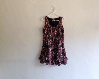 Vintage Dress - 1990s Floral Fit and Flare Mini Dress