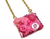 Upcycled Hot Pink Necklace, Repurposed Button Pendant ,Fabric Jewelry, Wearable Art
