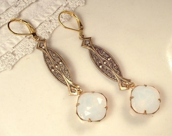 1920s OPAL Antique Gold Art Nouveau/Deco Rhinestone Vintage Dangle Earrings Long White Pinfire Bridal Statement Drop Gatsby Downton Abbey