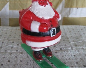 Vintage Christmas Santa Claus Candy Container Skis