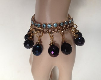 Upcycled Blue Rhinestone, Curb Chain and Deep Blue Crystal Bead Bracelet