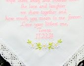 MOTHER of the Bride, Gift, Embroidered Wedding Handkerchief, Flowers, Daisy, Mother, Wedding Gift, MOM Gift, By Canyon Embroidery