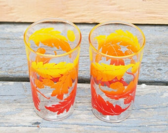 Pair of Mid Century Fall Leaves Drinking Glasses
