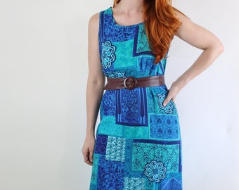 Summer Dress, Aqua Blue, Royal Blue, Vintage 90s, Festival, Sleeveless, Boho Dress, Maxi Dress, Hippie Dress, Size Medium