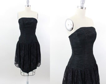 80s prom dress - 1980s black ruched lace formal dress - new years eve dress