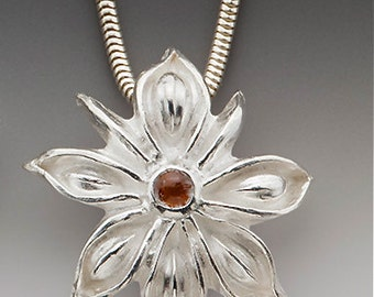 garnet necklace, gift for her, Valentine's gift, silver flower necklace, labradorite necklace, silver garnet, star anise, flower necklace