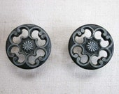 Set of 2 Vintage Ornate Black and Silver Metal Drawer Pulls, Knobs or Handles, Cutout Metal Design, 1-1/4 Inch Diameter Drawer Handle