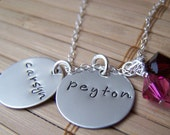 Hand Stamped Two Charm Necklace in Sterling Silver with 2 Swarovski Crystal dangles