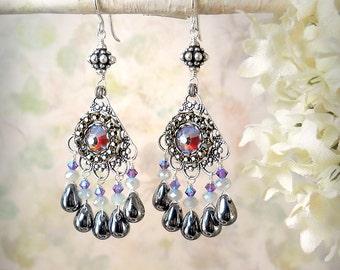 Contessa - Exotic Red Black Silver Chandelier Earrings Colorful Gypsy Earrings Ornate Victorian Teardrop Earrings Bollywood Indian Wedding