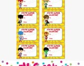 Printable Superhero Valentines Day Card - School Valentines Card - Boy Valentine Printables - Superheroes Valentines - Digital File