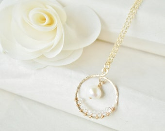 Pearl & White Topaz Gold Necklace