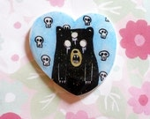 Bear brooch,  creepy cute, halloween pin, creeypy brooch, 90's pin style, halloween, jean jacket