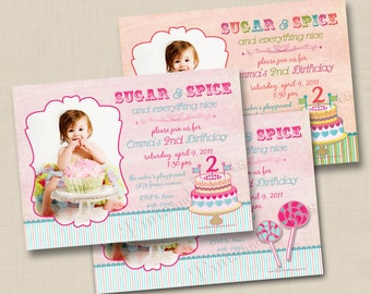 Sugar and Spice Birthday Cake or Lollipops Custom Photo Birthday Party Invitation Design - any age