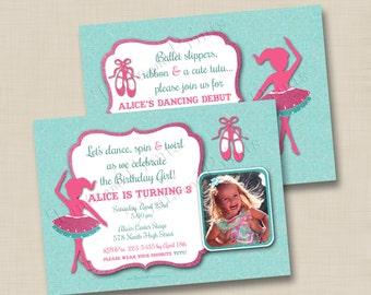Our Little Ballerina Custom Birthday Party Photo Invitation or Ballet Recital Invitation Design- any age
