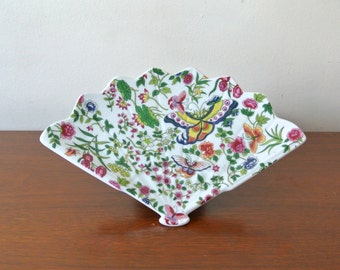 Vintage Floral Pattern Fan Plate Ceramic Thousand Butterflies by Eda Mann Made in Japan