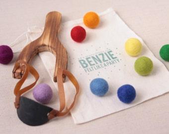 Slingshot Kit // Felt Ball Ammo // Rainbow Pom-Poms, Custom Pom-Poms, Wood Slingshot, Felt Balls, Felted Balls, Felt Beads, Felted Beads