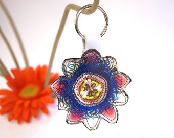Leather Keychain / Keyring / Bag Charm / Key Fob - Flower blue pink lilac white - printed genuine leather - passionflower / zipper charm