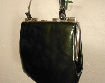 It's My Everything Bag - Vintage 1950s Dark Forest Olive Green Patent Leather Handbag - Nicholas Reich