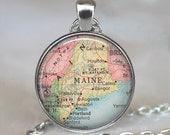 Maine map pendant, Maine map jewelry Maine pendant state map pendant vintage map jewelry Maine map necklace keychain key chain
