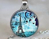 Paris Blues pendant, Paris necklace Paris jewelry Eiffel Tower necklace Blue Paris pendant keychain key chain