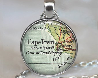 Cape Town map pendant, Cape Town pendant, Cape Town necklace, South Africa map jewelry, Cape Town keychain key chain key fob