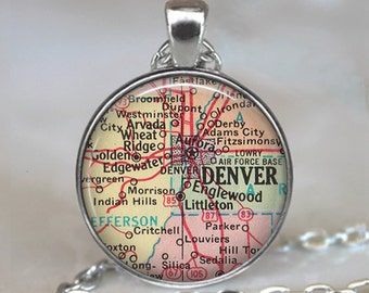 Denver map necklace, Denver map pendant Denver necklace Denver pendant map jewelry Denver keychain key chain
