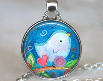 Bluebird of Happiness pendant, bluebird pendant bluebird necklace bluebird art pendant bird lovers gift keychain key fob