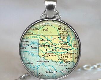 Oklahoma map pendant, Oklahoma map necklace, state map jewelry, Oklahoma pendant Oklahoma keychain key chain