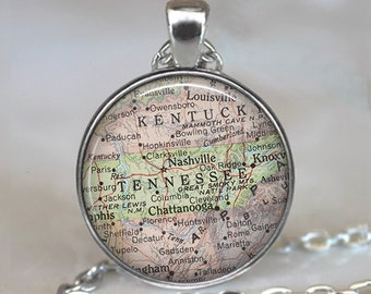 Tennessee map necklace, Tennessee map pendant, state map jewelry, Tennessee necklace, Tennessee pendant keychain key chain