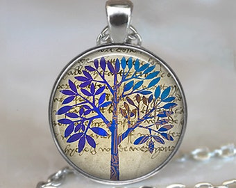Blue Tree pendant, tree jewelry, tree necklace, modern art tree necklace, modern art tree pendant, tree keychain key chain key fob