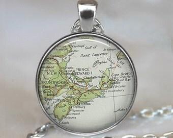 Nova Scotia map pendant, Nova Scotia necklace, New Brunswick map necklace, Cape Breton map jewelry key chain key ring key fob