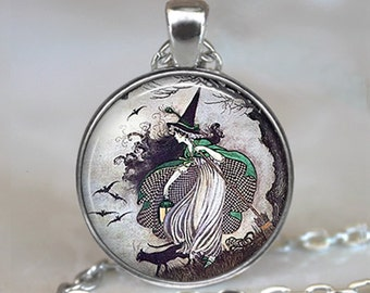 Fairytale Witch pendant, fairy tale witch necklace witch jewelry Halloween jewelry, Samhain necklace, Samhain pendant key ring