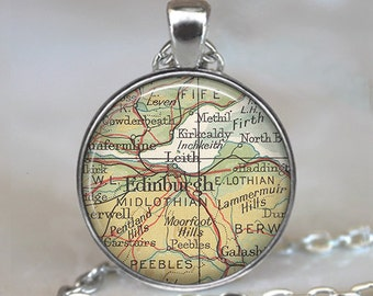Edinburgh, Scotland map pendant, Edinburgh map nekcklace, Edinburgh necklace, map jewelry, Edinburgh pendant, key fob keychain