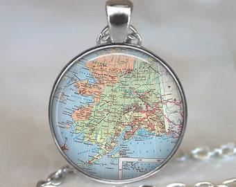 Alaska map pendant, Alaska map necklace Alaska pendant Alaska necklace Alaska map jewelry Alaska keychain Alaska key chain