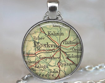 Moscow map necklace Moscow map pendant Moscow necklace Moscow pendant Moskva map jewelry keychain key fob