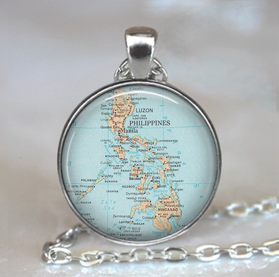Philippine Islands map pendant, Philippines map necklace, Philippine necklace, Philippine pendant map jewelry keychain