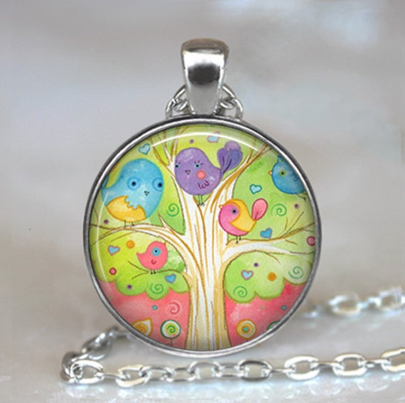 The Family Tree pendant, bird necklace bird jewelry bird family necklace bird lover gift Mother's Day gift for mom key chain key ring