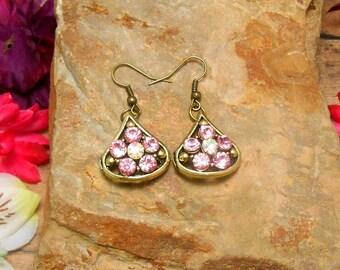 Pink Rhinestone Tear Drop Earrings