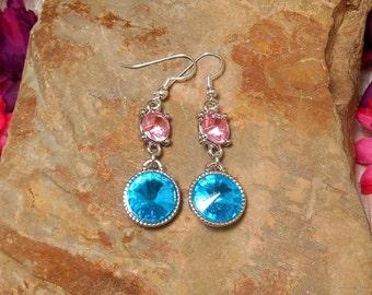 Pink & Blue Rhinestone Dangle Earrings