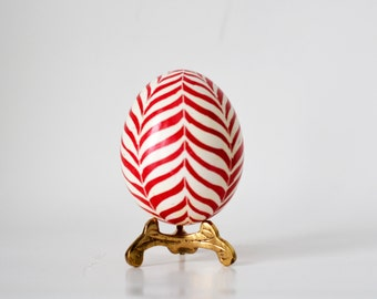 Red Christmas egg orbament, candycane red and white, pysanka Ukrainian Easter egg, chicken egg shell hand painted, holidays home accessories