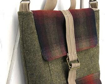 HALF OFF! Messenger Bag, Travel Bag, Satchel, Macbook, Laptop, Olive green tweed, Red and green plaid, Suit Coat Bag, Large messenger bag