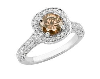 Diamond Engagement Ring Champagne & White Diamond Engagement Ring 14k White Gold 1.85 Carat Halo Certified HandMade Pave Set