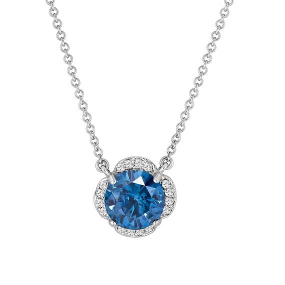 1.89 Carat Blue & White Diamonds Solitaire Clover Flower Pendant Necklace 14k White Gold Certified handmade