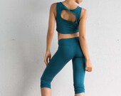 Teal Crop Top -  Organic Yoga Top - Yoga Top - Yoga Clothing - Crop Top