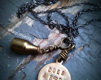 Does A Body Good - miniature milk bottle, stamped metalwork idiom tag, gunmetal chain NECKLACE